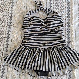 Catalina Black & White Stripe Halter Swimsuit - 1X